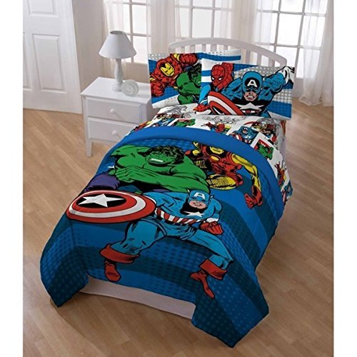 5pc Kids Superheroes Themed Comforter Full Set, Unisex, Animated Printed Revesible Bedding, Adorable Superheroes Themed, Spider Man, Hulk, Captain America, Vibrant Colors by D-UNKN