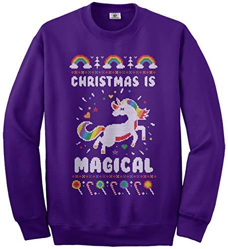Christmas Is Magical Unicorn Ugly Christmas Kids Youth Sweatshirt M Purple ()