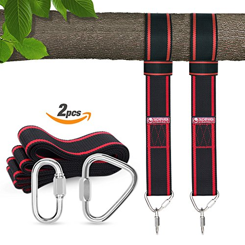 Tree swing hanging kit, Tree Swing Straps for Outdoor, 10ft Strap, Holds 3150 lbs(SGS Certified), Heavy Duty Carabiner Lock Screws, Genuine Quality | Easy & Efficient(Red)