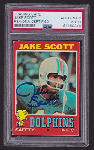 - JAKE SCOTT signed 1971 Topps Football RC Card #211 - slabbed Miami Dolphins - PSA/DNA Certified - Football Slabbed Rookie Cards