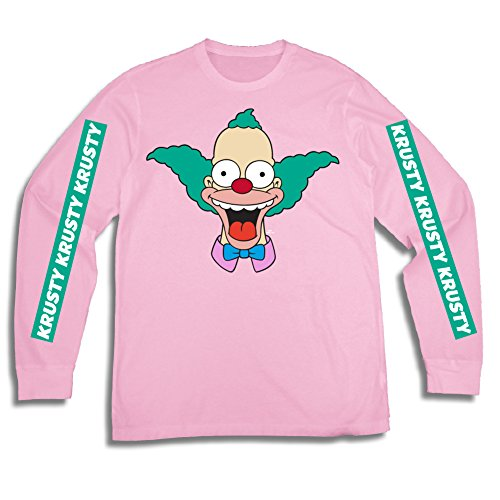 (The Simpsons Mens Krusty The Clown Shirt Krusty Long Sleeve Logo Tee Graphic T-Shirt (Pink,)