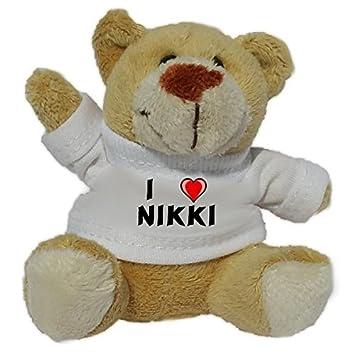 Llavero de oso marrón de peluche con Amo Nikki en la camiseta (nombre de pila