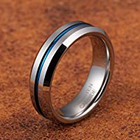 7306db92b316d TUSEN JEWELRY 6MM Thin Blue Line Plated Groove Tungsten Carbide Ring ...