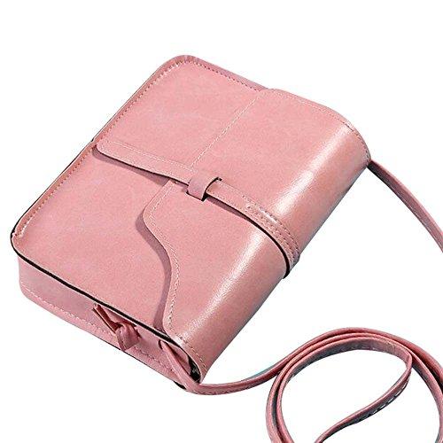 Kingwo Sac à Main Vintage en Cuir sac à Bandoulière Sac à Bandoulière diagonal Multifonctionnel Rose