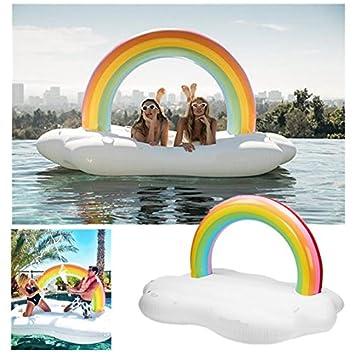 Rainbow Piscina Piscina Flotador balsa inflable gigante de la nube ...