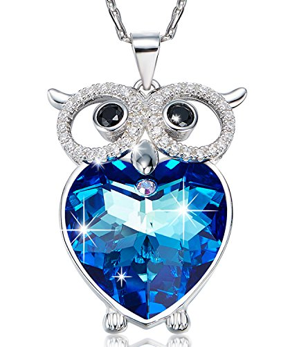 The Heart of the Sea Swarovski Elements Crystal Necklace Heart of the Ocean Necklace 925 Sterling Silver Owl Pendant Necklace - Necklace Of Owl