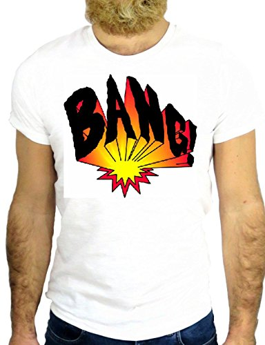 T SHIRT 0307 BANG EXPLOSION COOL SUPER HERO NICE ROCK VINTAGE AGGRESSIVE GGG24 BIANCA - WHITE S