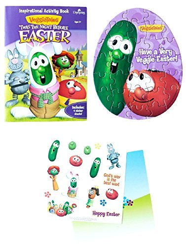 Dayspring Veggie Tales 'Twas The Night Before Easter Fun Activity Set with Coloring Pad, Activity Book, Stickers, Build a Scene Sheet, and Puzzle ()