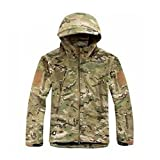 Waterproof Military Tactical Combat Softshell Jacket Outdoor Camping Hiking Camouflage Hoodie Coat (CP, L)