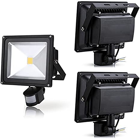 Leetop 50W 30W 10W Blanco Cálido LED Foco Proyector Luz, Foco proyector con Iluminación LED y PIR Sensor de Movimiento(3pcs:30W)