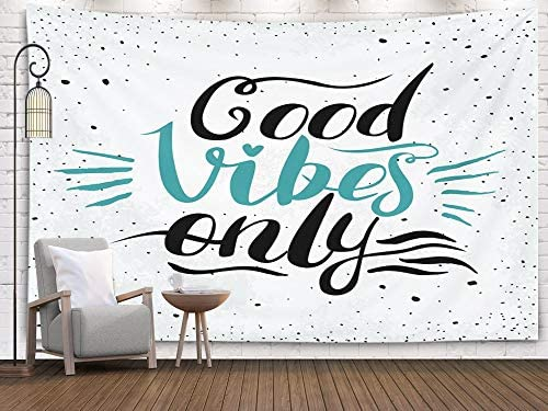 ROOLAYS Home Art Decor Wall Hanging Tapestry Good Vibes Only Handmade Calligraphy with 80×60 Inches for Living Room Dorm Background Tapestries
