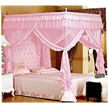CdyBox 4 Corners Bed Canopy Twin Full Queen King Mosquito Net (Twin, Pink)