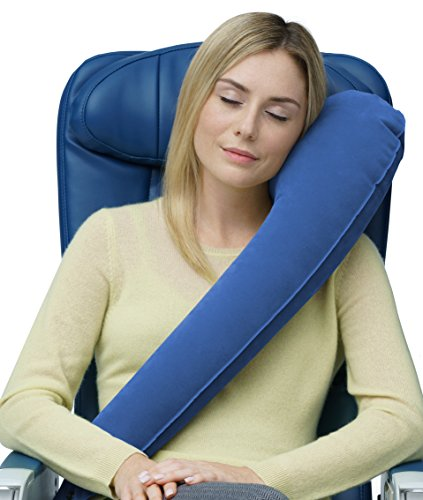 Travelrest - The Ultimate InflatableTravel Pillow / Neck Pillow - Ergonomic, Patented & Best Adjustable for Airplane, Auto, Bus, Train, Office Napping, Camping, Wheelchair (Rolls Up Small)