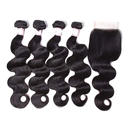 Glad You Came Brazilian Body Wave Human Hair Bundles With Closure 44 Free|Middle|Three Part Natural Remy Hair Extensions,28 28 28 28 & closure18,Middle Part