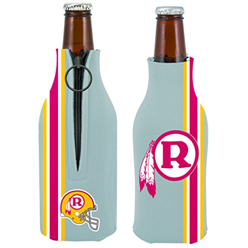 (Washington Redskins 2-PACK Zipper BOTTLE Retro THROWBACK Koozie Neoprene Holder Cooler Coolie Football)