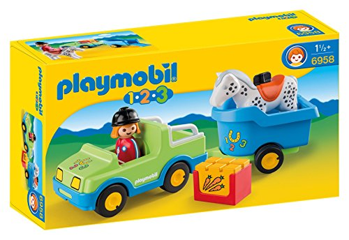 Playmobil Horse Trailer - PLAYMOBIL 1.2.3 Car with Horse Trailer
