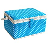 Sewing-Online Medium Blue Polka Dot Sewing Basket 26 x 19 x 15cm FM-004