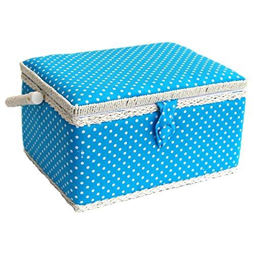 Sewing Online FM-004 | Medium Blue Polka Dot Sewing Basket | 26? x 19 x 15cm (Baskets Wicker Sewing)
