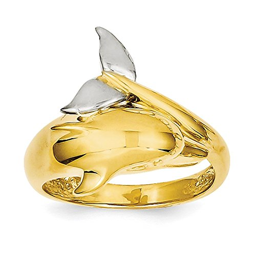 Ring White Gold Dolphin (Lex & Lu 14k Two-tone Gold Polished Dolphin Ring)