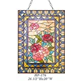 HF-176 Rural Vintage Tiffany Style Stained Glass Church Art Sweet Flowers Rectangle Window Hanging Glass Panel Suncatcher, 26.5''x20''
