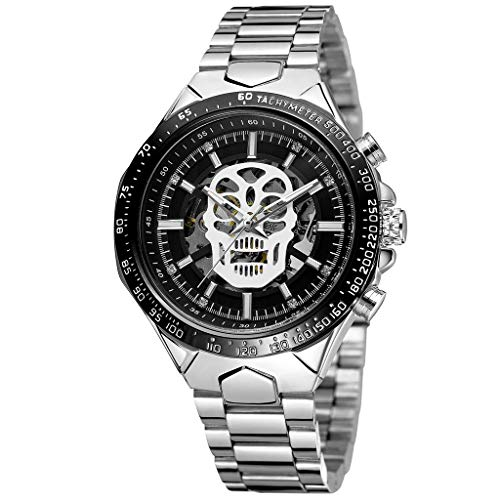 LUCAMORE Mens Watch Luxury Classic Skeleton Mechanical Skull Stainless Steel Band Casual Business Dress Watch
