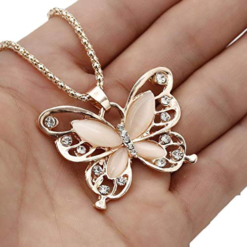 Usstore 1PC Women Necklace Fashion Rose Gold Opal Butterfly Pendant Sweater Chain Jewelry ()