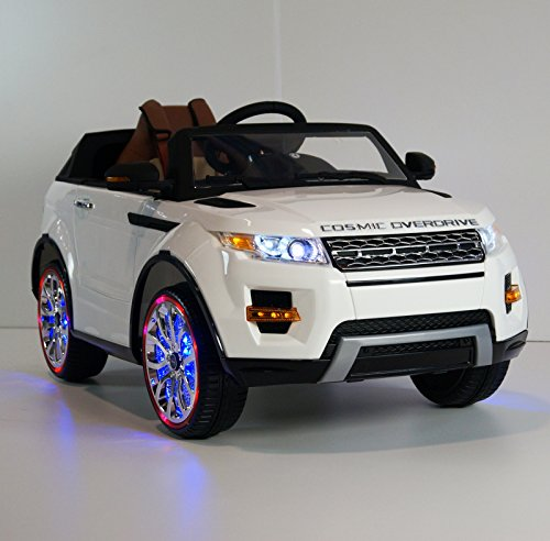 range rover style battery operated ride on car toy with remote control rideonecar sx 118 white. Black Bedroom Furniture Sets. Home Design Ideas