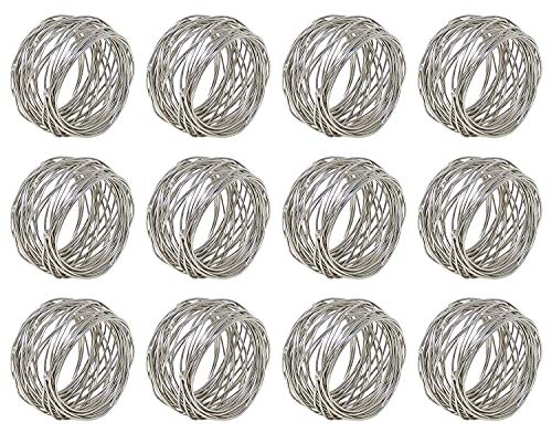 Worldexplorer Silver Round Mesh Napkin Rings - Set for Weddings Dinner Parties or Every Day Use (Pack of 12)