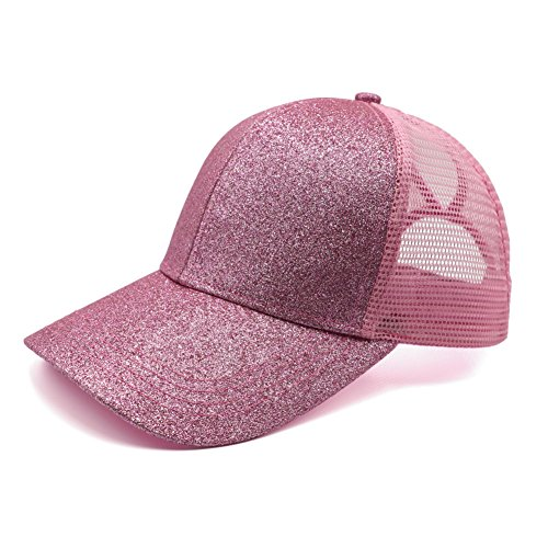 Lvaiz Womens Glitter Ponytail Plain Baseball Cap Messy High Buns Mesh Trucker Sparkly Ponycaps for Girls from Lvaiz