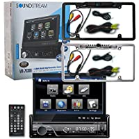 Soundstream VIR-7830B 1-DIN Single DIN 7 Touchscreen DVD Car Stereo Bluetooth + Wireless Remote & DCO Waterproof Backup Camera with Nightvision (Optional Color)