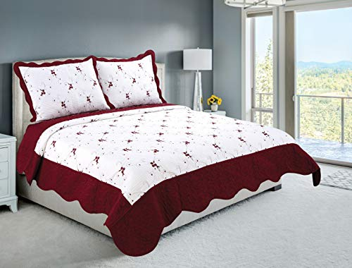 Beauty Sleep Bedding Luxury Embroidered Reversible 3 Pieces Quilt Set with 2 Quillted Shams, Burgundy Color, King Size -