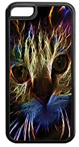 Neon Cat Art- Case for the Apple Iphone 6- Hard Black Plastic Snap On Case