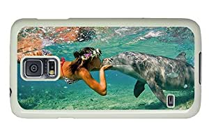 Hipster Samsung Galaxy S5 Cases new dolphin girl kiss PC White for Samsung S5