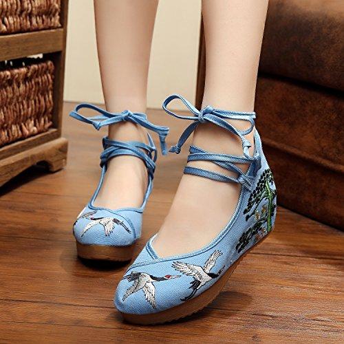 Lino c¨®modo Estilo xiezi Tend¨®n ¨¦tnico Manera aumentados Femeninos Ocasional lenguado Zapatos del Zapatos Bordados blue zl OOqSw0t
