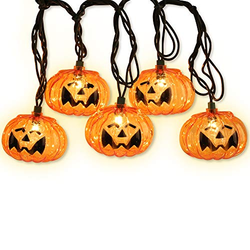 LIDORE Set of 10 Halloween 3D Jack-O-Lantern Pumpkin Decoration String Lights-for Holiday, Festival, Party Decor ()