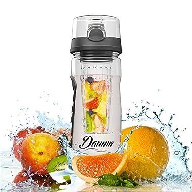 Danum Fruit Infuser Water Bottle - Large 32 oz Flip Top - Black