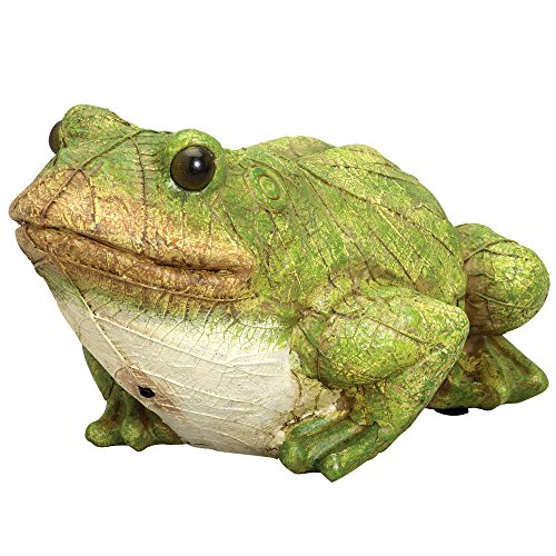 Bits and Pieces - Frog Motion Sensor Statue - Weather Resistant, Hand-painted Polyresin Sculpture - Garden Decoration (Frog Garden Statue)
