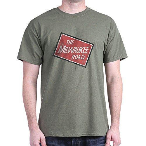 CafePress Milwaukee Road 2 Distressed Dark T Shirt 100% Cotton T-Shirt Military Green