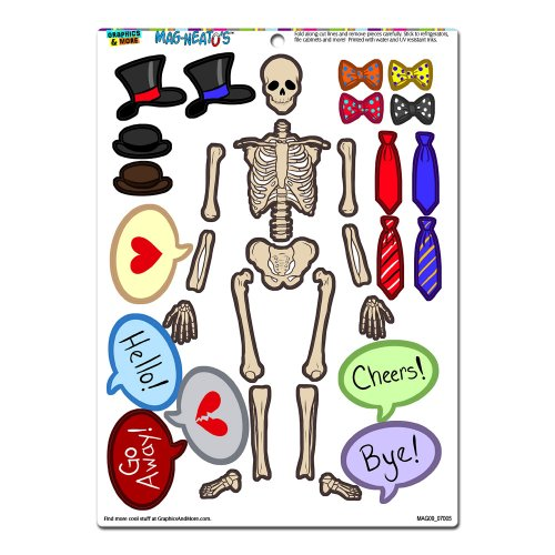 Graphics and More 'Human Skeleton Dress-Up' Bones Anatomy Halloween Hats Ties Funny MAG-NEATO'S Novelty Gift Paper Doll Locker Refrigerator Vinyl Magnet Set