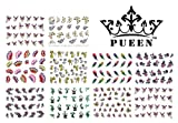 leopard print nail decals - PUEEN 3D Nail Art Sticker Collection Set E1 - 10 Packs in Different Designs (Over 240 Stickers) 3D Glitter Sparkling Feathers Roses Cats Leopard Prints Nail Art Decal Stickers for Cellphones & Nails Decorations-BH000260