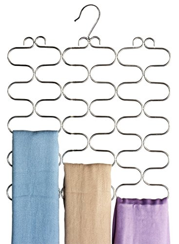 DecoBros Supreme 23 Loop Scarf / Belt / Tie Organizer Hanger Holder, Chrome