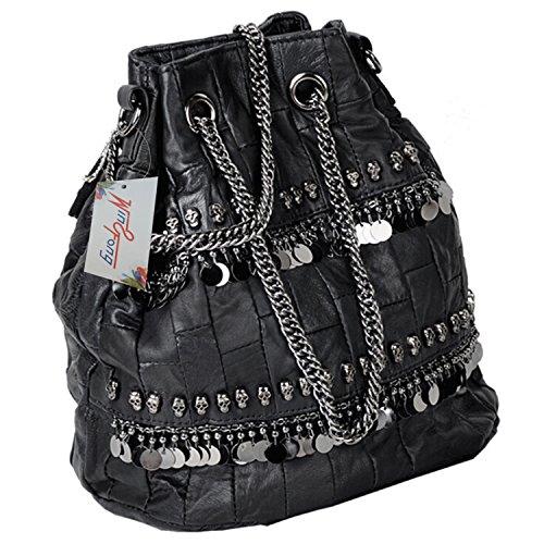 negro calavera con Negro para mujer hombro de diamantes Negro bolsa Bolso de qYzFwXn
