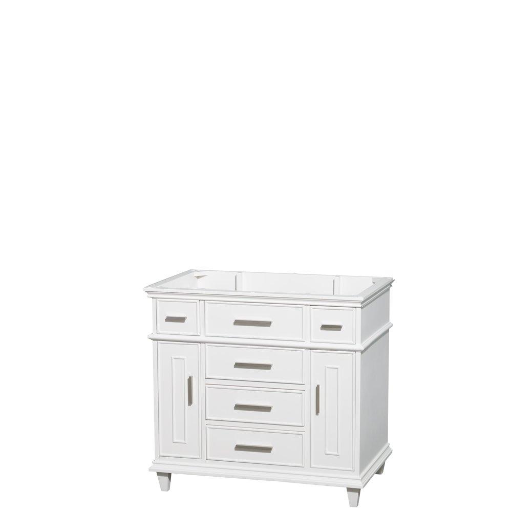 Wyndham Collection Berkeley 36 inch Single Bathroom Vanity in White with No Countertop, No Sink, No Mirror