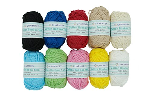 Charmkey 10 Assorted Colors Candy Mini Yarn Skeins 100% Cotton - Perfect for Any Crochet and Knitting Mini Project and DIY Handcrafts (10x10g) by CHARMKEY