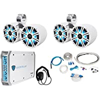 Pair Dual KICKER 43KM84LCW 8 1200w Marine LED Wakeboard Speakers+Amplifier+Kit