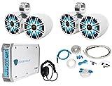 Pair Dual KICKER 43KM84LCW 8'' 1200w Marine LED Wakeboard Speakers+Amplifier+Kit