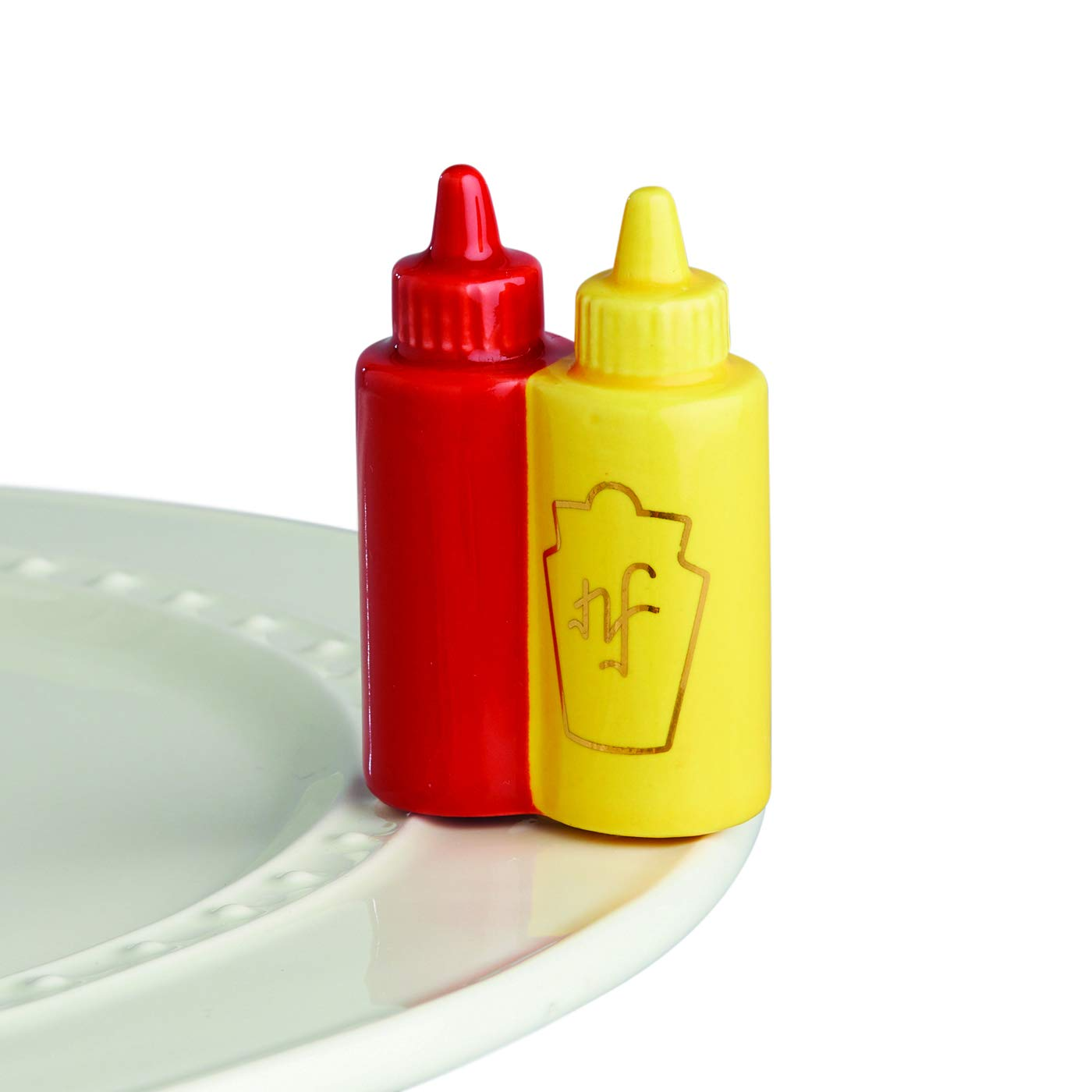 Nora Fleming Hand-Painted Mini: Main Squeeze (Ketchup and Mustard) A230