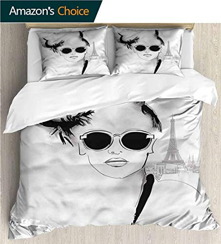 3 Pcs Duvet Cover Sets,Box Stitched,Soft,Breathable,Hypoallergenic,Fade Resistant 3D Print 100% Polyester Fiber Quilt Cover 2-Pillowcases -Girls Sketch Model With Sunglasses (87
