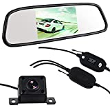 Buyee Wireless Back-up Camera System with 4.3-inch Mirror Monitor, Vehicle Wireless Rearview Backup Camera & Monitor Parking Reverse Reversing System