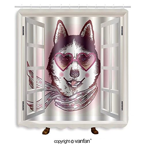 Vanfan designed Windows 374962171 Hipster husky dog in sunglasses. Hand drawn fashio Shower Curtains,Waterproof Mildew-Resistant Fabric Shower Curtain For Bathroom Decoration Decor With Shower - Sunglasses Store Me Near